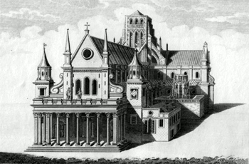 ANTIQUE PRINT: THE WEST VIEW OF ST. PAUL'S CATHEDRAL BEFORE THE FIRE OF LONDON.