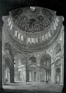 ANTIQUE PRINT: INTERIOR OF ST. PAUL'S, THE VIEW TAKEN FROM THE NORTHERN ENTRANCE LOOKING TOWARD THE SOUTH & WEST DOORS.