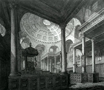 ANTIQUE PRINT: INTERIOR OF ST. STEPHEN WALBROOK.