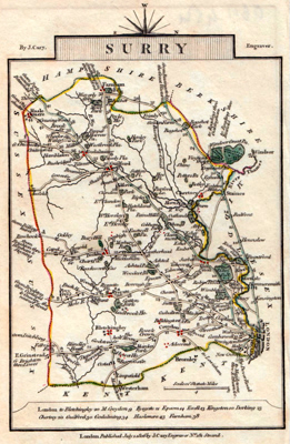 ANTIQUE MAP: SURRY [sic].