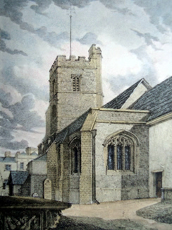 ANTIQUE MAP : S. E. VIEW OF PUTNEY CHURCH. SHEWING BISHOP'S WEST'S CHAPEL.