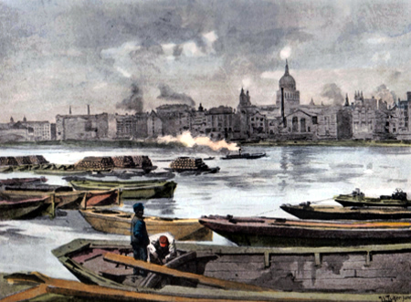 ANTIQUE PRINT: ST. PAUL'S CATHEDRAL FROM THE SOUTH BANK OF THE RIVER.