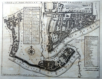 ANTIQUE MAP : THE PARISH OF ST JOHNS WAPPING / THE PARISH OF ST PAUL SHADWELL.