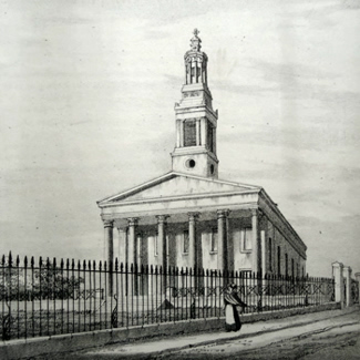 ANTIQUE PRINT: NORWOOD CHURCH, LAMBETH.
