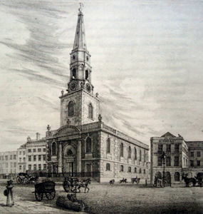 ANTIQUE PRINT: ST GEORGE'S CHURCH. S.W. SOUTHWARK.