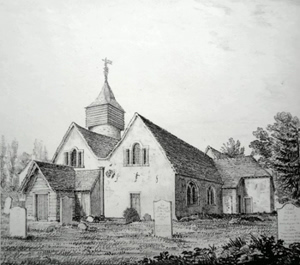 ANTIQUE PRINT: TOOTING CHURCH. S-W.