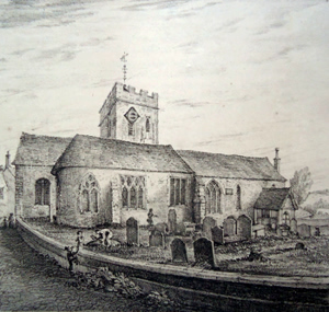 ANTIQUE PRINT: ST. MARY'S CHURCH, N. GUILDFORD.