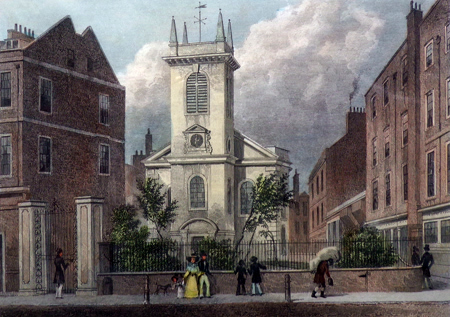 Antique print of St. Olave Jewry