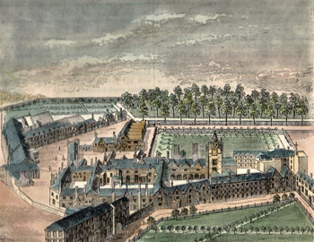 ANTIQUE PRINT: BIRD'S-EYE VIEW OF THE OLD CHARTERHOUSE.