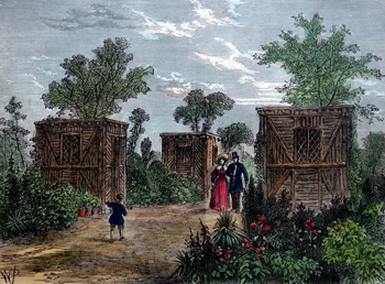 ANTIQUE PRINT: ENTRANCE TO THE ZOOLOGICAL GARDENS IN 1840.
