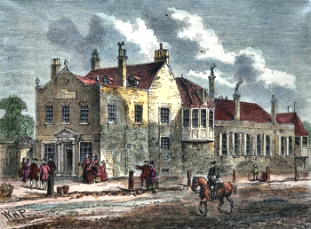 ANTIQUE PRINT: THE EXTERIOR OF BAGNIGGE WELLS IN 1780.