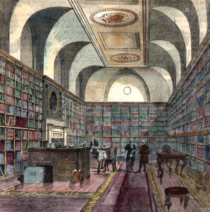 ANTIQUE PRINT: THE KING'S LIBRARY, BUCKINGHAM HOUSE, 1775.