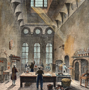ANTIQUE PRINT: KITCHEN OF ST. JAMES'S PALACE, IN THE TIME OF GEORGE III.