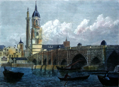 ANTIQUE PRINT: LONDON BRIDGE. (FROM A PRINT DATED 1796.)