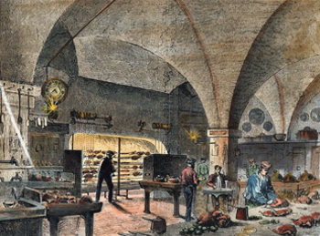 ANTIQUE PRINT: THE MANSION HOUSE KITCHEN.