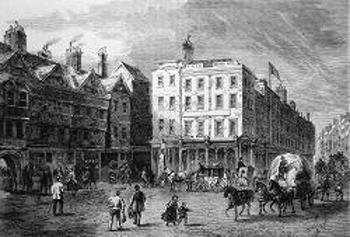 ANTIQUE PRINT: MIDDLE ROW, HOLBORN. (FROM A DRAWING TAKEN SHORTLY BEFORE ITS DEMOLITION).