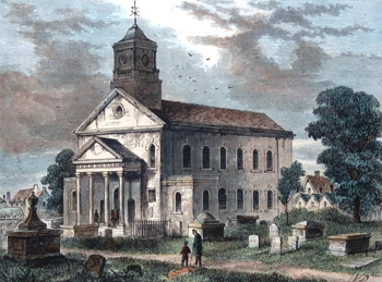 ANTIQUE PRINT: OLD NEWINGTON CHURCH IN 1866.