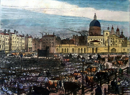 ANTIQUE PRINT: OLD SMITHFIELD MARKET, 1837.