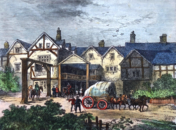 "ANTIQUE PRINT: THE OLD ""TABARD"" INN, IN THE SEVENTEENTH CENTURY."
