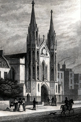 ANTIQUE PRINT: NEW CHURCH, SLOANE ST. CHELSEA.