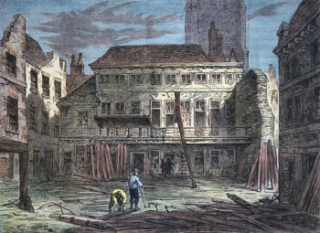 ANTIQUE PRINT: THE SARACEN'S HEAD, SNOW HILL. (FROM A SKETCH TAKEN DURING ITS DEMOLITION.)
