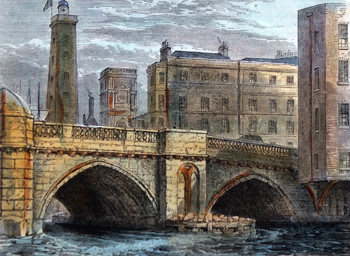 ANTIQUE PRINT: SOUTH END OF OLD LONDON BRIDGE, WITH SHOT TOWER AND ST. OLAVE'S CHURCH, IN 1820.