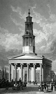 ANTIQUE PRINT: ST. PANCRASS CHURCH, WEST FRONT.