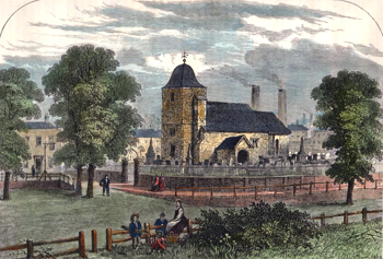 ANTIQUE PRINT: ST. PANCRAS CHURCH IN 1820. (FROM AN ORIGINAL SKETCH.)