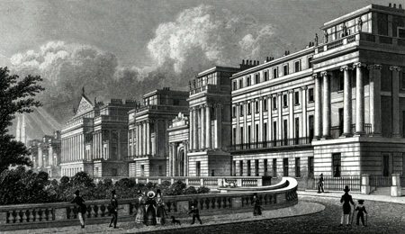 ANTIQUE PRINT: CUMBERLAND TERRACE, REGENT'S PARK. TO JOHN NASH, ESQ : ARCHITECT TO THE KING &C. THIS PLATE IS RESPECTFULLY DEDICATED.