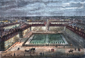 ANTIQUE PRINT: RED LION SQUARE IN 1780.