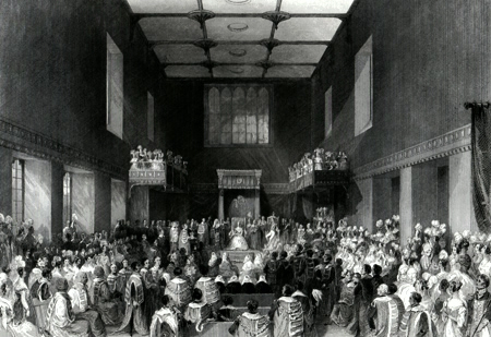 ANTIQUE PRINT: HOUSE OF LORDS. HER MAJESTY OPENING THE SESSION OF PARLIAMENT.