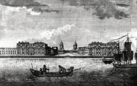 ANTIQUE PRINT: VIEW OF GREENWICH HOSPITAL.