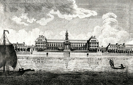 ANTIQUE PRINT: VIEW OF CHELSEA HOSPITAL.