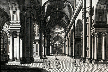 ANTIQUE PRINT: VIEW OF THE INSIDE OF ST. PAUL'S CATHEDRAL.