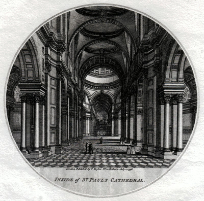 ANTIQUE PRINT: INSIDE OF ST. PAUL'S CATHEDRAL.