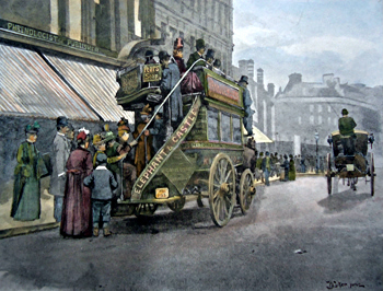 ANTIQUE PRINT: [BLACKFRIARS] NEW BRIDGE STREET – STRUGGLE FOR THE BUS.