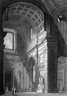 ANTIQUE PRINT: SOUTH TRANSEPT ST. PAULS CATHEDRAL. TO THE RT. REV.D WILLIAM HOWLEY, D.D. F.R.S. & S.A. LORD BISHOP OF LONDON, THIS PLATE IS RESPECTFULLY INSCRIBED ...