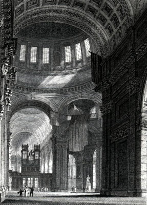 ANTIQUE PRINT: PART OF THE NAVE & CHOIR, ST. PAULS CATHEDRAL.