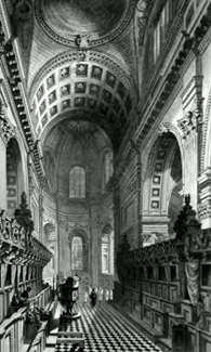 ANTIQUE PRINT: ST. PAUL'S CATHEDRAL, VIEW OF THE CHOIR.