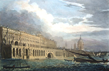 ANTIQUE PRINT: SOMERSET HOUSE, FROM THE THAMES, WESTMINSTER.