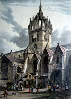 ANTIQUE PRINT: ST. GILES' CHURCH. FROM THE N. WEST : ALTERED 1827.