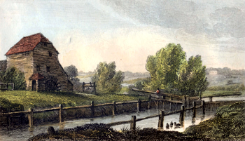 ANTIQUE PRINT: SHIPLAKE LOCK & PAPER MILL.