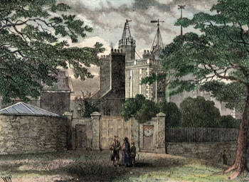 ANTIQUE PRINT: ENTRANCE TO GREENWICH OBSERVATORY, IN 1840.