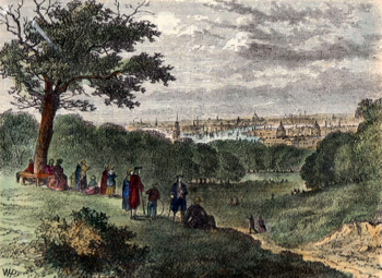 ANTIQUE PRINT: VIEW FROM ONE-TREE HILL, GREENWICH PARK, IN 1846.