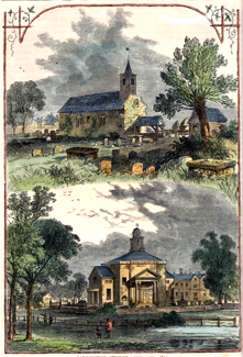 ANTIQUE PRINT: PADDINGTON CHURCH : 1750 AND 1805.