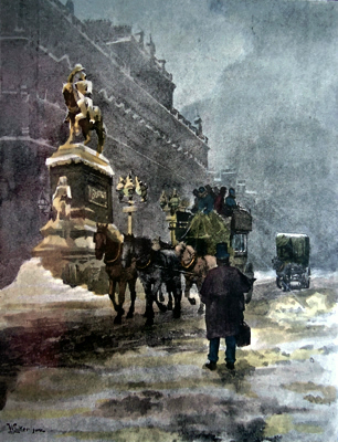 ANTIQUE PRINT: HOLBORN CIRCUS – A WINTER'S MORNING.