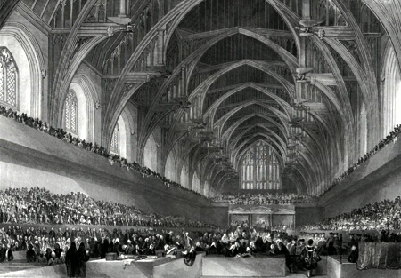 Antique print of Westminster Hall