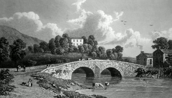 ANTIQUE PRINT: GRETA HALL AND KESWICK BRIDGE.