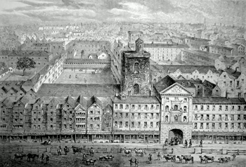 ANTIQUE PRINT: ST. BARTHOLOMEW'S HOSPITAL IN 1750.