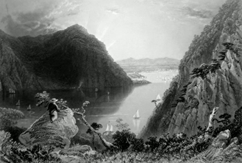 ANTIQUE PRINT: HUDSON HIGHLANDS. (FROM BULL HILL.)